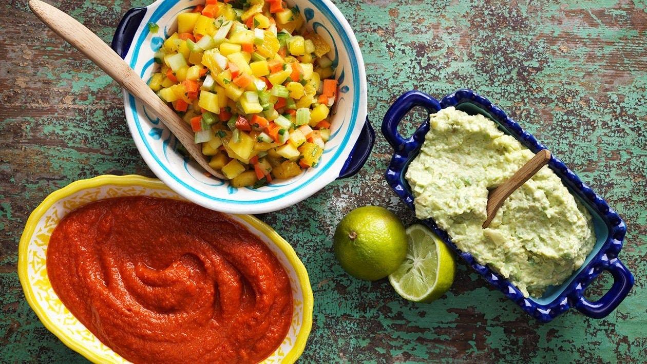 Guacamole, mango salsa ja salsa casera – Resepti
