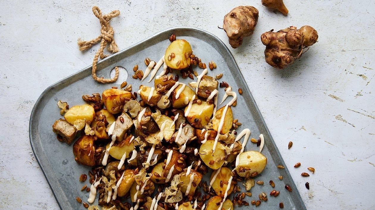 Paahdettu maa-artisokka-perunasalaatti & savumajoneesia – Resepti
